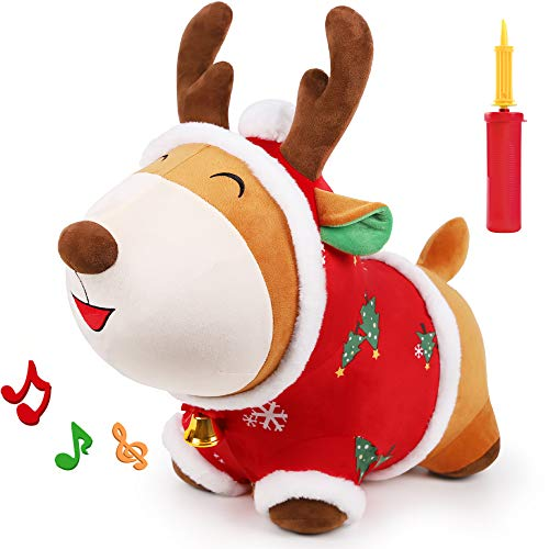 iPlay, iLearn Bouncy Pals Reindeer Bouncy Horse, Plush Ride on Hopping Animal Toy, Indoor n Outdoor Inflatable Horse Hopper, Riding Jumping Gift for 18 24 Month 2 3 4 Year Old Toddler Girls Boys Kids