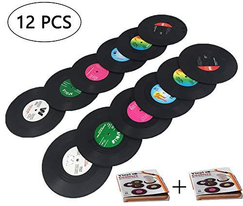 Tafeiya Untersetzer, personalisierbar, 12 Stück, Retro-CD-Schallplatten-Vinyl, Anti-Hitze/Rutsch-Untersetzer für Kaffee, Tee, Bier, Beer, Weinglas, Zuhause und Bar