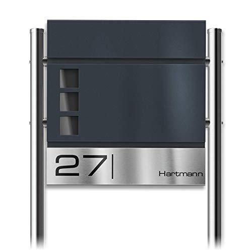 Metzler Standbriefkasten mit Edelstahl-Namensschild Cube - Design Briefkasten inkl. Zeitungsfach & Gravur - Briefkasten mit Fenster - Postkasten, Größe: 37 x 37 x 10,5 cm - Höhe 120 cm