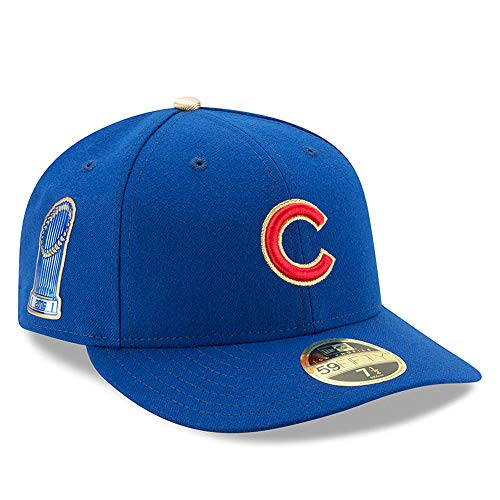 New Era MLB Chicago Cubs 59FIFTY LP Low Profile 2016 Gold Program World Series Champions Commemorative Hat, Blue Fitted Cap (7 3/8)