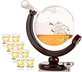 Olivia & Aiden Whiskey Decanter Globe with 8 Shot Glasses (Large 850 mL) World Map Liquor Dispenser | Unique Gift Set for Men | Scotch, Bourbon, Vodka, or Wine