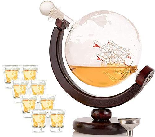 OLIVIA & AIDEN Whiskey Decanter Globe with 8 Shot Glasses (Large 850...