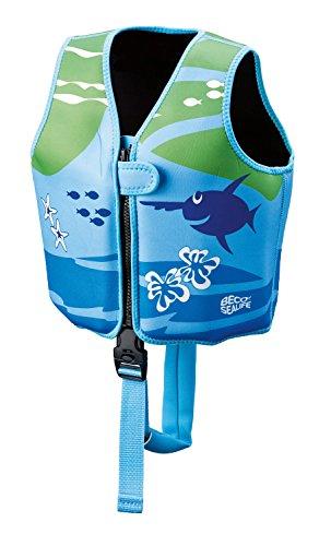 Beco 09639-008 Sealife Auftrieshilfe und Schwimmhilfe verstellbar mit 3 Auftriebskörper Schwimmlernweste, mehrfarbig (blau/grün), M