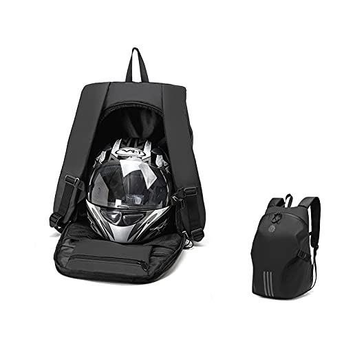 Honored Mochila para casco de motocicleta, mochila impermeable para montar en casco, mochila de senderismo y camping con rayas reflectantes de gran capacidad (color negro)
