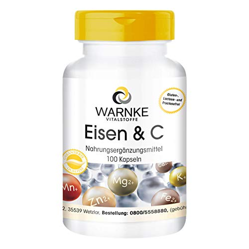 Eisen mit Vitamin C - Eisen Komplex mit Vitamin B12, Biotin & Vitamin C - vegan & hochdosiert - 100 Kapseln