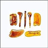 7 pièces Gua Sha grattage Kit d'outils pour le visage de Massage, résine ambre grattoir conseil soins de santé beauté grattage plaque outil pour visage corps jambe
