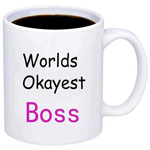 Worlds Okayest Boss Kaffeetasse - 11 Unzen Becher - schöne motivierende und inspirierende Office Geschenk von großen C-Griff Kaffeetasse