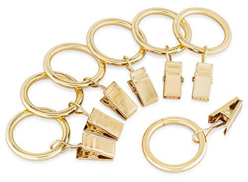 Perfect Order Iron Metal Curtain Clip Rings 1 Inch Interior Diameter (20, Gold)