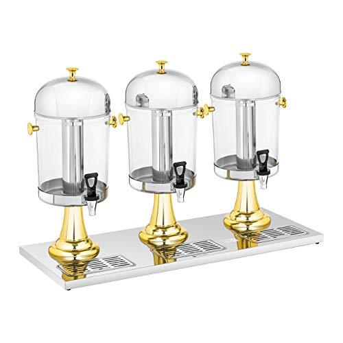 Royal Catering RCSD-3G Saftspender 3 x 8 L Kühlsystem 3 Behälter Ø 22 cm Getränkespender mit Zapfhahn Retrodesign Tropfschalen
