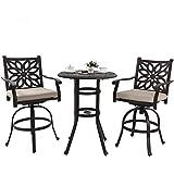 PHI VILLA Bar Height Patio Furniture Set 3 PCS, Cast Aluminum Outdoor High Top Table and Chairs, Pub...
