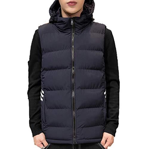 ZRJ Casual Chaleco de Invierno para Hombre Chaqueta de Chaleco al Aire Libre cálida sin Mangas Casual Acolchado Chaleco con Capucha Compresible (Color : Blue, tamaño : XXX-Large)