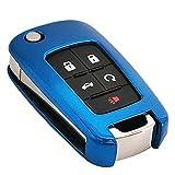 Blue Soft TPU Flip Key Fob Case Holder Jacket Protector for Chevy Equinox Camaro Cruze Malibu Sonic Volt Park Impala Buick Encore Allure Regal Verano Lacrosse