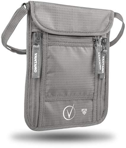 Brustbeutel Herren und Damen - Reisepass Tasche Brusttasche mit RFID-Blocker - Passend für Reisepass mit Cover - inkl. Global Recovery Tags - Hellgrau
