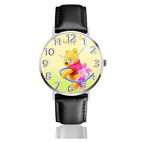 Bee Happy Winnie The Pooh Reloj Unisex de Cuarzo analógico de fácil Lectura de 38 mm con Correa de Cuero
