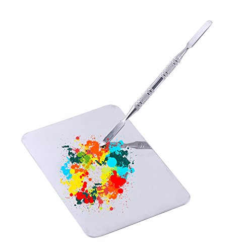 Mixing Tool Small Stainless Steel Makeup Palette Rectangle Shape Foundation Mixing Plate Tools With Spatula for Mixing Foundation Lip Colors