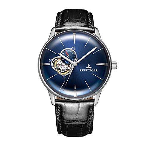 REEF TIGER Herren Uhr analog Automatik mit Leder Armband RGA8239-YLB