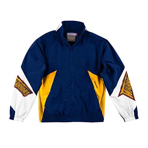 Jungen Retro Basketballjacke, Windbreaker Aufwärmjacke Anzug, Sommer Studenten Trainingslager Basketball Uniform, Herbst und Winter blau-L
