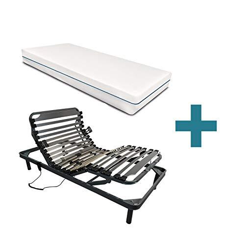 Duermete Cama Eléctrica Articulada 5 Planos Reforzada Ergoluxe + Colchón Ecodorsal, Gris, 90 x 190