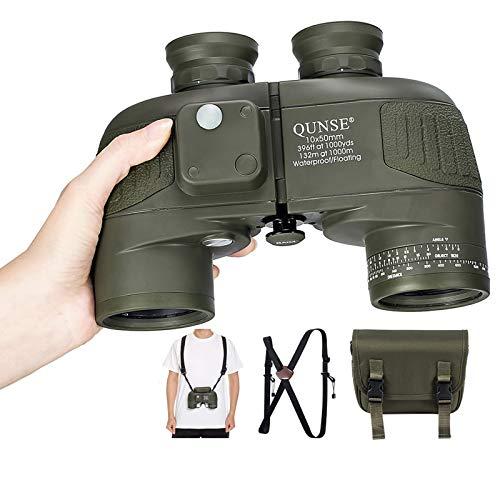 QUNSE Binocolo 10 x 50 per adulti, con telemetro e bussola, adatto per caccia, bird watching e...