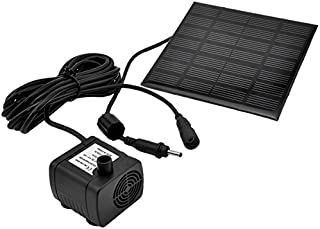UEETEK 1.2W 7V 180L/H Solar Power Water Pump Garden Fountain Submersible Pump with Suckers (Black)