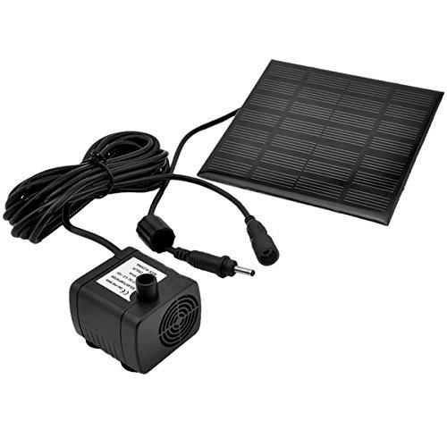 UKCOCO 1.2W 7V 180L / H Solar Power Wasserpumpe Garten Brunnen Tauchpumpe mit Saugnäpfen (schwarz)