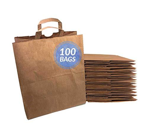 Reli. Paper Grocery Bags w/Handles (100 Pcs, Bulk)(12'x7'x14') Large Paper Grocery Bags, Shopping Bags w/Handles - Heavy Duty 57 Lbs Basis - Takeout/To Go Bags, Retail Bags, Brown Kraft Paper Bags
