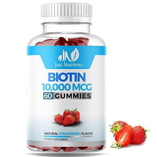 Biotin 10,000mcg Gummies for Women & Men - 5,000mcg per Gummy - 2X Extra Strength Biotin for Hair Skin & Nails - Vegan, Non-GMO - 60 Count