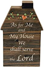 Set of 2 Wood House Shaped Block Signs - As for Me and My House We shall serve the Lord & Accept what is...Let go of what was...and have FAITH for what will be - Country Prim Distressed - Freestanding