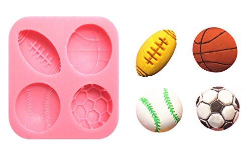 Moule Silicone 4 ballon Sport 5,7x5,7cm Pâtisserie Gâteau Décoration Sucre