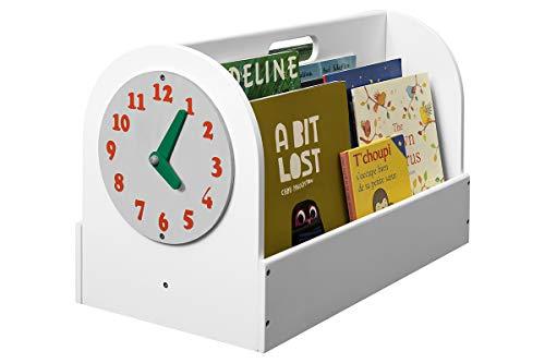 Tidy Books Cajon organizador portatil con estanterias de visión frontal | Caja revistero infantil para libros | Mueble auxiliar original para habitaciones infantiles | 34 x 54 x 28 cm | A mano | Eco