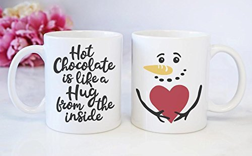 Amazon Com Christmas Coffee Mug Hot Chocolate Is Like A Hug From The Inside Personalized Christmas Present Handmade