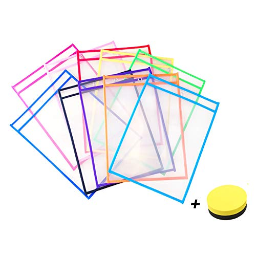 Multicolored Dry Erase Pockets, Resuable Sheet Protectors with 10 Assorted Colors, Supplies for Classroom, Office & Home-School Organization, 10 x 14 inches (10 Pack)