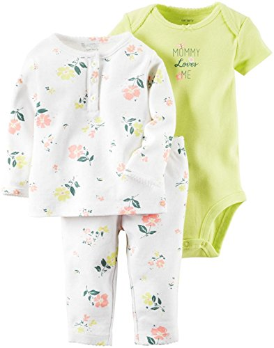 Carter's Baby Girls' 3 Pc Sets 126g316, White, New Born