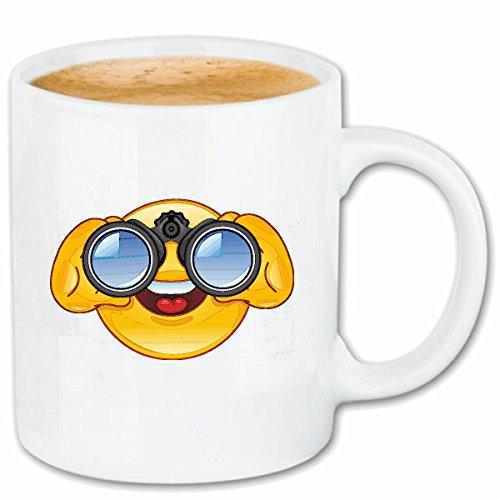 Reifen-Markt Kaffeetasse Smiley SCHAUT DURCH FERNGLAS Smileys Smilies Android iPhone Emoticons IOS GRINSE Gesicht Emoticon APP Keramik 330 ml in Weiß