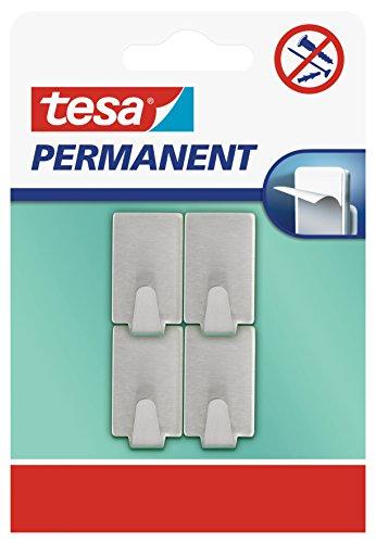 Tesa Powerstrips Ganci Small Rettangolare - Gancio Adesivo Rimovibile per Vetro, Piastrelle, Legno, Plastica e Altre Superfici - Impermeabile - Metallo - Forte Tenuta fino a 1 kg