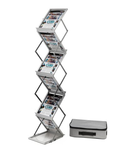 Deflecto - Expositor plegable (aluminio, con maleta de transporte, 6 niveles, A4)