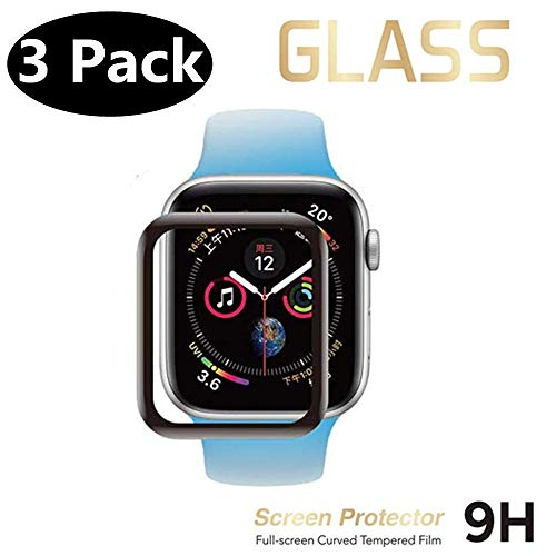 [3 Pack] Screen Protector Compatible for Apple Watch Series 3/2/1(38mm),3D Curved Edge Protective Anti-Scratch Anti-Bubble with Black Edge Tempered Glass Screen Protector for iWatch 38mm