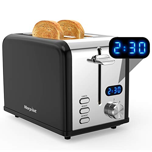 Toaster 2 Slice, Morpilot Retro Toasters with Timer, Stainless Steel Wide Slots, Removable Crumbs Tray, Black