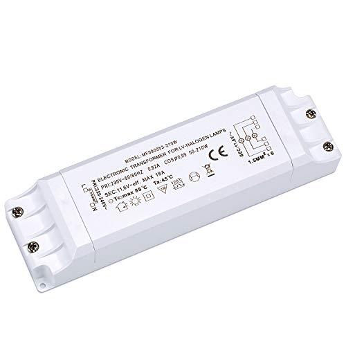 Yafido Elektronischer Transformator 230V AC auf 12V AC 50-210W, Halogen-Trafo Überlastungsschutz, nicht dimmbar, für Halogen