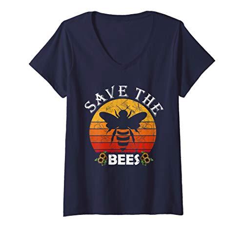 Damen Bienenrettung Imker Geschenk für Frauen Männer Save the Bees T-Shirt mit V-Ausschnitt
