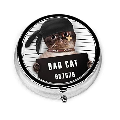 Bad Cat Custom Fashion Silver Round Pill Box Medicine Tablet Holder Wallet Organizer Case For Pocket Or Purse Vitamin Organizer Holder Decorative Box