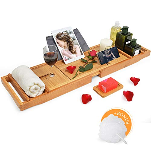 Domax Bathtub Caddy Tray with Wine Glass Holder - Adjustable Book Stand with Waterproof Cloth...