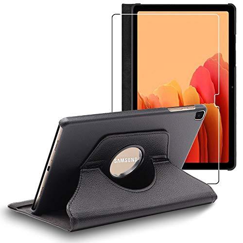 ebestStar - Funda Compatible con Samsung Galaxy Tab A7 10.4 T505 (2020) Carcasa Cuero PU, Giratoria 360 Grados, Función Soporte, Negro + Cristal Templado [Tab S7: 247.6 x 157.4 x 7 mm, 10.4'']
