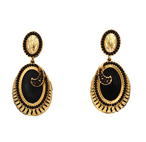JewelryGift Marvellous Dangling Earrings 18K Gold Plated Rich Designer Fashion Jewellery for Girls Ladies ME 17-BLACK
