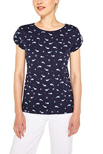 edc by ESPRIT Damen 079Cc1K018 T-Shirt, Blau (Navy 400), Medium (Herstellergröße: M)