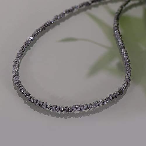 Collar de piedras preciosas de diamantes negros naturales en bruto Collar de cuentas de diamantes en bruto de plata de ley 925 Collares de diamantes hechos a mano regalo para ella 47cm Collares hechos