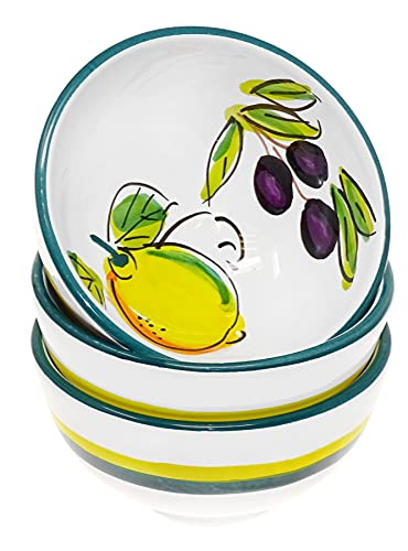 Lashuma Keramik Schüssel Set 3 teilig, kleine Deko Schalen rund Motiv: Zitrone Olive, Ø 10 cm
