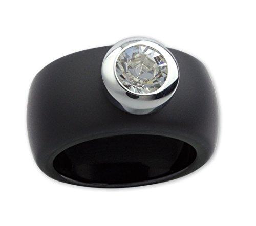 LuxXL Keramikring schwarz matt mit Kristall Stein (CR100BM), Ringgrösse:54