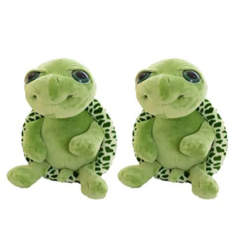 TOYANDONA 2Pcs Lindos Ojos Grandes Tortuga Tortuga Juguete de Peluche Suave Juguete para Niños Pequeños Regalo de Cumpleaños,18 Cm