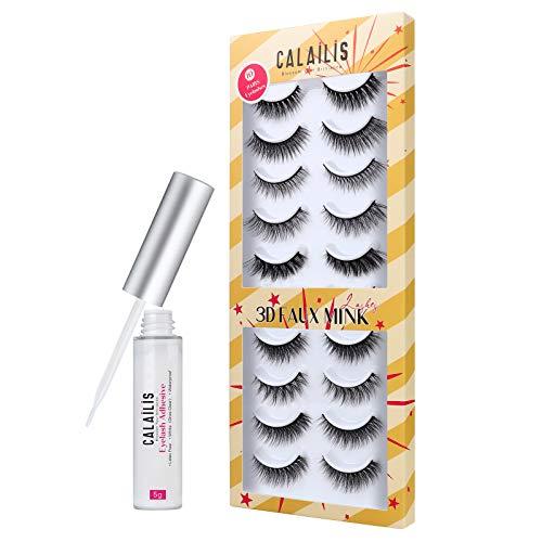 CALAILIS False Eyelash, Eye Makeup Lash 3D Faux Mink Fake Eyelash Long Natural Eyelashes 10 Pairs with 5g False Eyelash Glue (CH01)